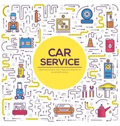 Auto service landscape concept thin line icons vector