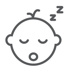 Baby boy sleep line icon child and sleep vector