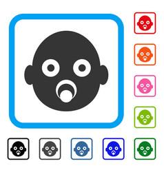 Baby head framed icon vector