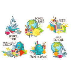 Back to school study stationery icons vector