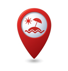 Beach icon on map pointer vector image