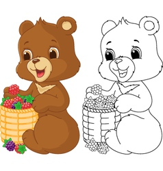 Bear coloring page vector