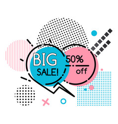 Big sale geometric poster with lines and dots vector