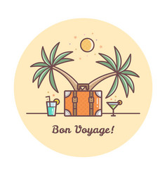 Bon voyage suitcase and palm trees vector