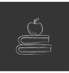 Books and apple on top Drawn in chalk icon vector