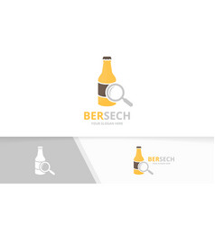 bottle and loupe logo combination beer and vector image