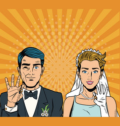 Bride and groom pop art cartoon internet security vector