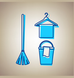 broom bucket and hanger sign sky blue vector image