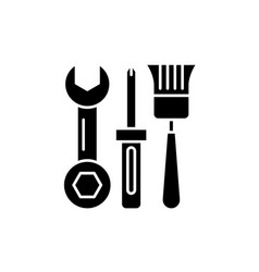 building tools black icon sign on isolated vector image