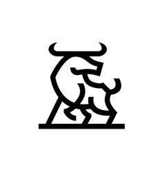 bull ox chinese new year line monoline logo icon vector image