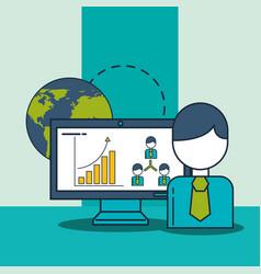 businessman computer world diagram organization vector image