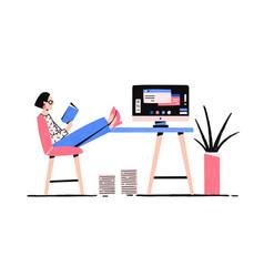 Cartoon relaxed woman reading book enjoying break vector