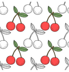 cherries black and white for vector image