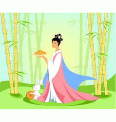 Chinese woman in a bamboo grove with moon cakes vector