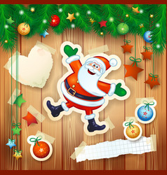 christmas background with fir decorations and vector image