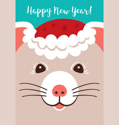 christmas cartoon rat greeting cards merry vector image