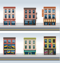City buildings icon set vector