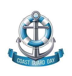 Coast guard day greeting card nautical emblem vector