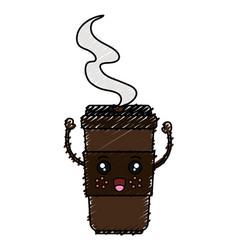 Coffee in plastic cup kawaii character vector