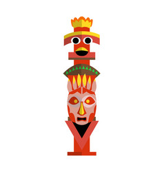 Colored indian totem pole representation family vector