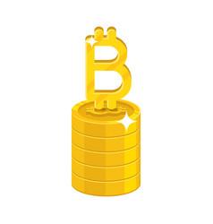 Column gold bitcoins isolated cartoon icon vector
