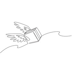 Continuous one line drawing flying package box vector