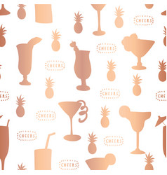Copper foil cocktail glass pattern tile vector