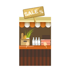 Counter with sale sign milk in bottles and fresh vector
