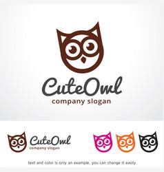 cute owl logo template design vector image