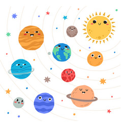 cute planets solar system with happy faces vector image