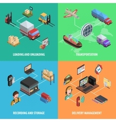 Delivery And Logistic Square Isometric Icon Set vector