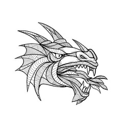 Dragon head zentagle vector