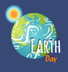 earth day planet with sun and sunshine poster vector image