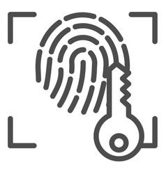 fingerprint and key line icon print vector image