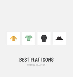 flat icon garment set of panama casual banyan vector image