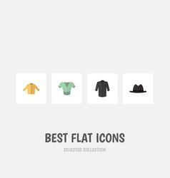 Flat icon garment set panama casual banyan vector