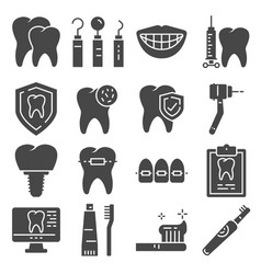 flat icons dental care and dentist services vector image