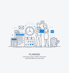 flat line of business planning vector image