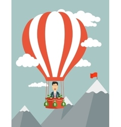 flat of a businessman flying vector image