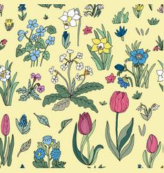 Flowers seamless pattern collection set cute vector