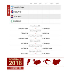 football 2018 group d match schedule all vector image