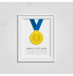 Frame for photo with medal vector image