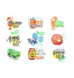 fresh fruit juice promo signs colorful set vector image