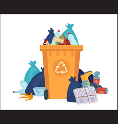 full garbage bin overflowing recycling container vector image