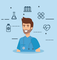 General practitioner with set icons vector