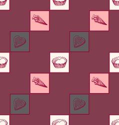 geometric seamless pattern with sweets-2 vector image