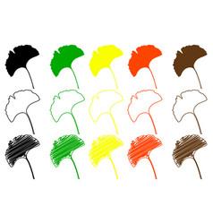 Ginkgo leaf color set vector
