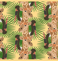 giraffe stork head seamless pattern yellow vector image