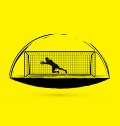 goalkeeper jumping action catches the ball graphi vector image