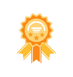 golden reward with stars and ribbons icon vector image